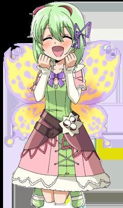 Das Bild zeigt Flavia, eine von sechs weiblichen Heiratskandidaten in Rune Factory 4 Special. Das Bild zeigt Flavia mit Flügeln hinter dem Rücken. Ihr Kleid ist grün, der Rock ist rosa und weiß.