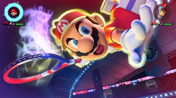 Das Bild zeigt den Spezialschlag von Mario in Mario Tennis Aces für Nintendo Switch.