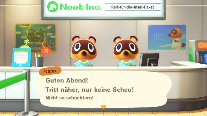Das Bild zeigt einen wichtigen Teil von Animal Crossing: New Horizons. Der Schalter an dem das Spiel beginnt ist zu sehen. Schlepp und Nepp empfangen uns, das Logo von Nook Inc. ist zu sehen und das Reif-für-die-Insel-Paket.