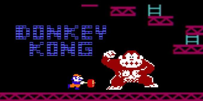 Das Bild zeigt den wohl bekanntesten Star des Nintendo Universums: Mario. Er kämpft mit einem Handy in der Hand gegen den Bösewicht Donkey Kong.