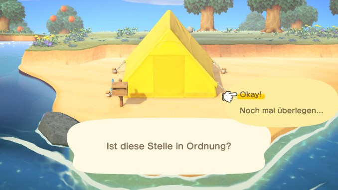 """Das Bild zeigt, wie ein Zelt in """"Animal Crossing: New Horizons"""" platziert wird."""