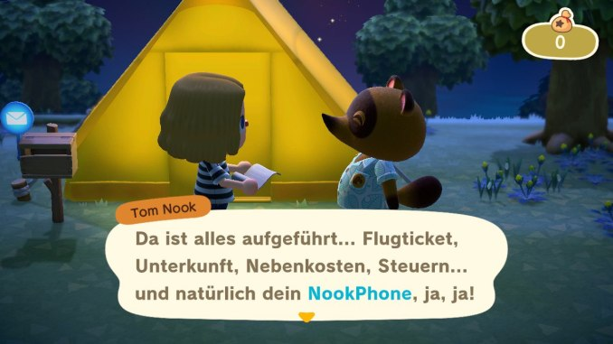Das Bild zeigt einen wichtigen Teil von Animal Crossing: New Horizons. Tom Nook überreicht und gerade die Rechnung für unser Inselabenteuer. Wir stehen vor unserem gelben Zelt und halten ein Papier in der Hand.