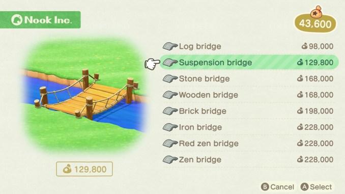 Dieses Bild zeigt eine Auswahl an möglichen Brücken in New Horizons.