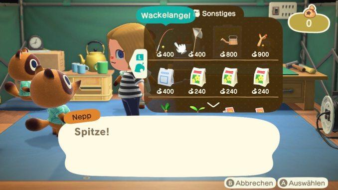 Das Bild zeigt einen wichtigen Teil von Animal Crossing: New Horizons. Man erkennt den Gemischtwarenladen von Nepp. Er bietet uns gerade Ausrüstungsgegenstände, Medizin und Saatgut an.