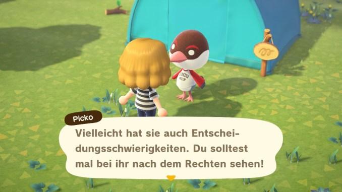 Das Bild zeigt einen wichtigen Teil von Animal Crossing: New Horizons. Man erkennt den Avatar und einen Bewohner. Das Gras ist grün, man sieht Unkraut auf dem Boden und ein blaues Zelt im Hintergrund.