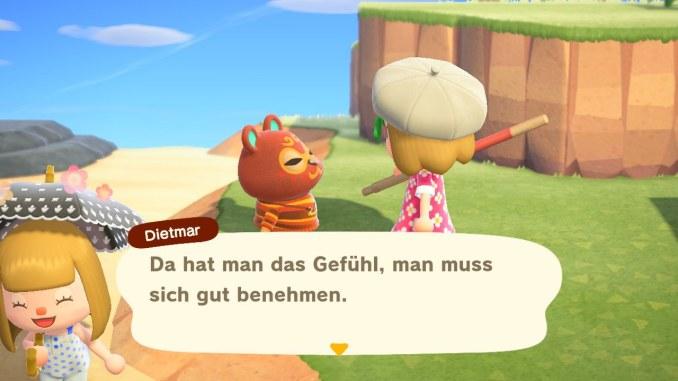 Das Bild zeigt eine Unterhaltung zwischen Caren und ihrem Nachbar Dieter.
