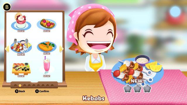 Das Bild zeigt ein Rezept aus Cooking Mama: Cookstar. Wir können Kebab kichen. Mama freut sich darüber.