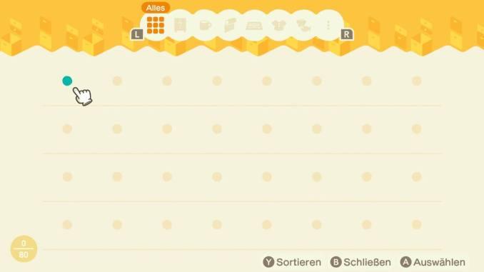 Das Bild zeigt einen wichtigen Teil von Animal Crossing: New Horizons. Man erkennt den Lagerraum, welcher im Haus verfügbar ist. 80 Items können hier gelagert werden.