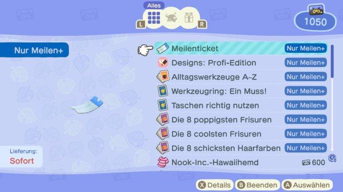 Das Bild zeigt einen wichtigen Teil von Animal Crossing: New Horizons. Man erkennt die Belohnungen, welche man für Meilen erwerben kann. Dazu zählen zum Beispiel Meilentickets oder auch spezielle Kleidungsstücke und Anleitungen für Frisuren.