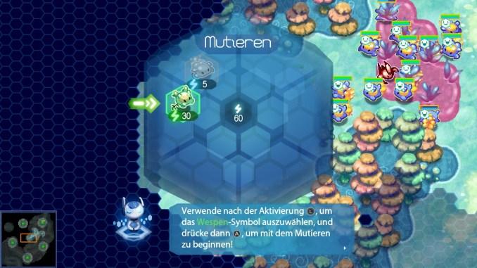 Das Bild zeigt das Rad mit den möglichen Mutationen in Amoeba Battle. Aktuell stehen nur zwei zur Verfügung.