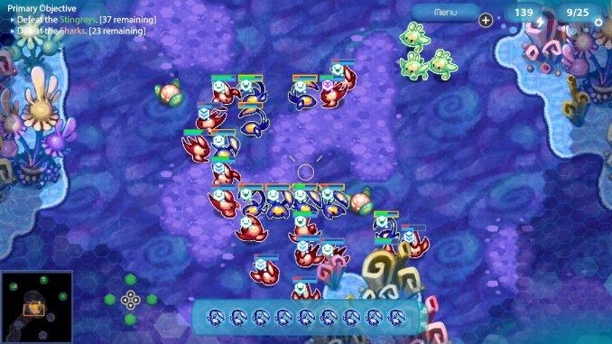 Das Bild zeigt eine Szene aus Amoeba Battle