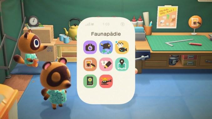 Das Bild zeigt einen wichtigen Teil von Animal Crossing: New Horizons. Man erkennt das NookPhone, auf welchem die App Faunapädie ausgewählt ist. Im Hintergrund sieht man Tom Nooks-Werkbank, Schlepp und Nepp. Nepps Augen sind geschlossen.