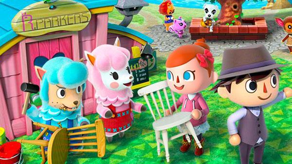 Das Bild zeigt einen wichtigen Teil von Animal Crossing: New Horizons. Man erkennt die Besitzer der Fundgrube: ein lilanes und ein blaues Lama. Zwei menschliche Avatare handeln gerade mit eben diesen.
