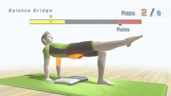 Das Bild zeigt eine Übung aus dem Spiel Wii FIt. Es handelt sich um ein interaktives Spiel im Sinne der WHO.