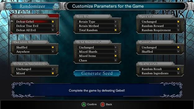 Das Bild zeigt eine Übersicht der Optionen im Randomizer-Modus von Bloodstained.