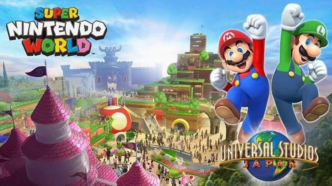 """Das Bild zeigt ein Werbefoto zum Freizeitpark """"Super Nintendo World"""" von Nintendo."""