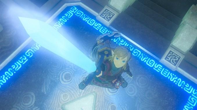 Dieses Bild zeigt Link, wie er das Master-Schwert in die Höhe streckt.