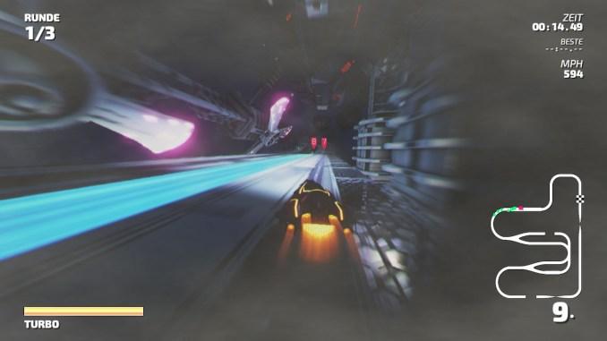 """Das Bild zeigt einen blauen Boost-Streifen aus dem Racer """"Fast RMX""""."""
