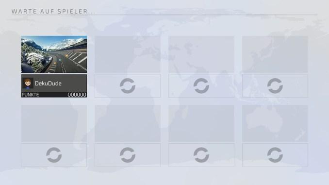 """Das Bild zeigt den Warte-Screen des Online-Modus aus dem Racer """"Fast RMX""""."""