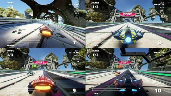 """Das Bild zeigt den Splitscreen-Modus mit vier Spielern aus dem Racer """"Fast RMX""""."""