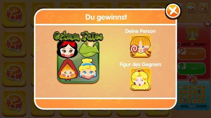 Das Bild zeigt an, dass man das Spiel gewonnen hat. Man sieht das gewählte Brett und die gewählten Charaktere in  Guess The Character.