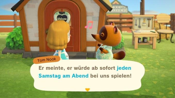 Dieses Bild zeigt die Unterhaltung mit Tom Nook über den Auftritt von K.K. Slider, die die Baulizenz in Animal Crossing: New Horizons freischaltet.