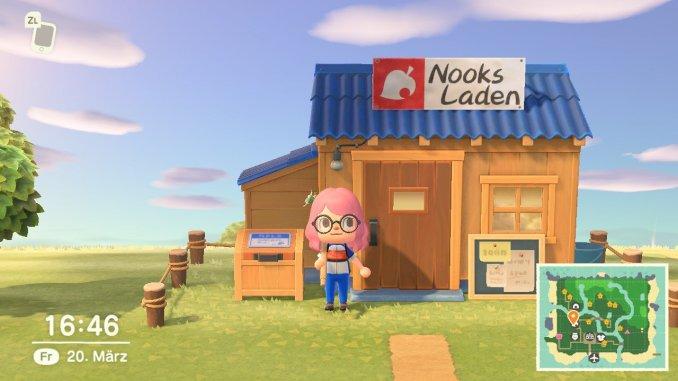 """Das Bild zeigt die erste Ausbaustufe von Nook's Cranny in """"Animal Crossing: New Horizons""""."""