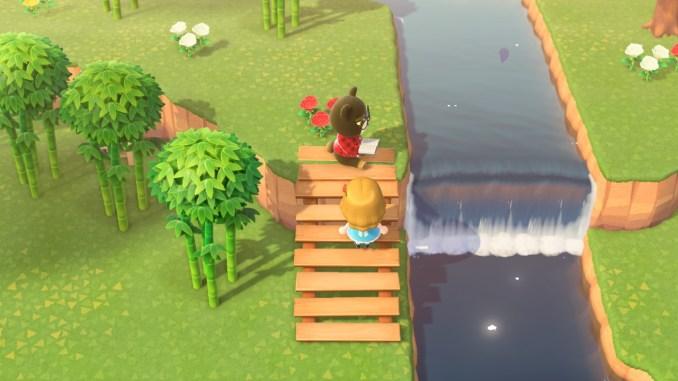 Dieses Bild zeigt Gerald auf der Baumstamm-Treppe in Animal Crossing.