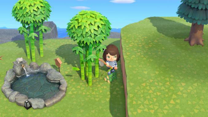"""Das Bild zeigt eine Bambuspflanze in """"Animal Crossing New Horizons"""". Botanisch zählt er zu dem Gräsern, verhält sich aber wie ein Baum."""