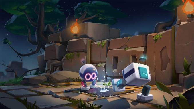 """Das Bild zeigt die beiden Roboter Aku und Sila, die Protagonisten in dem Spiel """"Biped"""". Sie sind gerade dabei, gemeinsam eine Aufgabe zu lösen."""