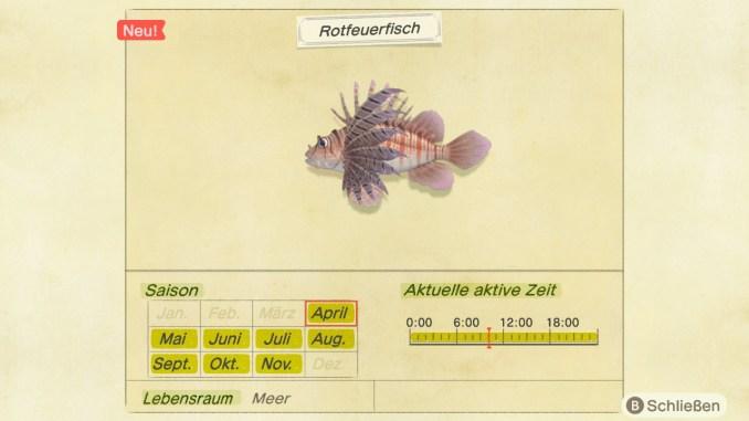 DIe App Faunapädie zeigt mir an, zu welcher Jahreszeit und zu welcher Tageszeit ich den Rotfeuerfisch fangen kann.