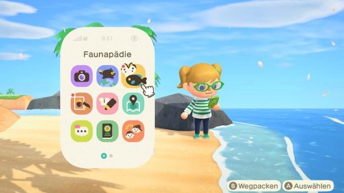 Das Bild zeigt einen Charakter in Animal Crossing, welcher sein Smartphone gezückt hat und gerade dabei ist, die App Faunapädie zu starten.