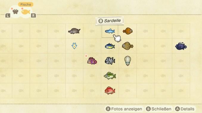 Das Bild zeigt einen Auszug aus der App Faunapädie. Man erkennt verschiedene Fische und jede Menge leere Pältze.