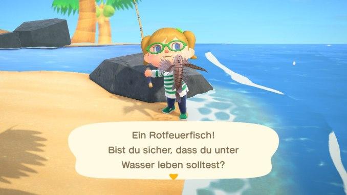 Das Bild zeigt einen Charakter aus Animal Crossing. Dieser hält einen Feuerfisch in der Hand, welcher gerade zum ersten Mal gefangen wurde. Dieser wird in der App Faunapädie registriert.