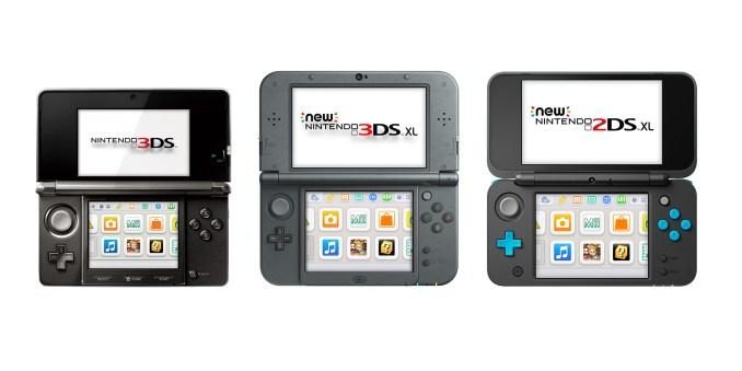 Das Bild zeigt die verschiedenen Handhelds der 3DS-Familie.