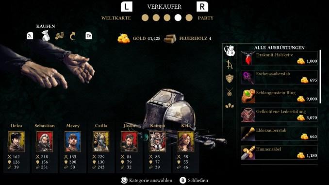 Das Bild zeigt das Verkäufer-Menü von Eila. Unten links sieht man die Helden samt übergeordneter Werte und rechts die käuflich zu erwebenen Gegenstände.