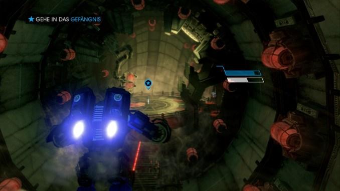 Das Bild zeigt den Spieler in einem Mech-Anzug.