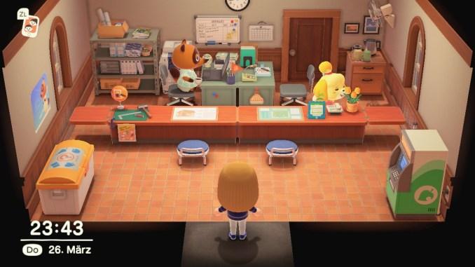 Dieses Bild zeigt wie sich Tom Nook und Melinda im Rathaus beschäftigen.