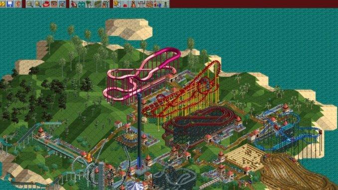 Das Bild zeigt Rollercoaster Tycoon 1, den Klassiker unter den Theme-Park-Simulationen
