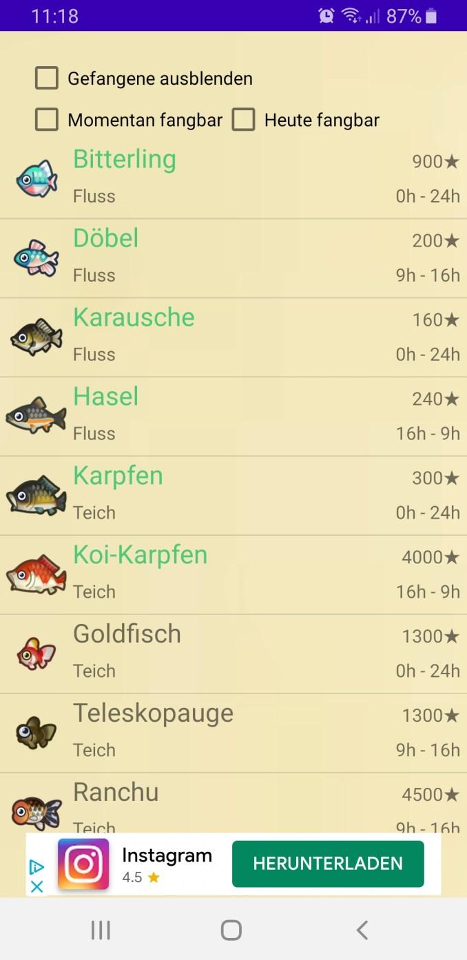 """Der Bildschirm zeigt den reiter FIsche in der App. Hier sieht man alle Fische, die es in Animal Crossing: New Horizons zu fangen gibt. Man kann die Auswahl einschränken mit """"Gefangene ausblenden"""", """"Momentan fangbar"""" und """"heute fangbar""""."""