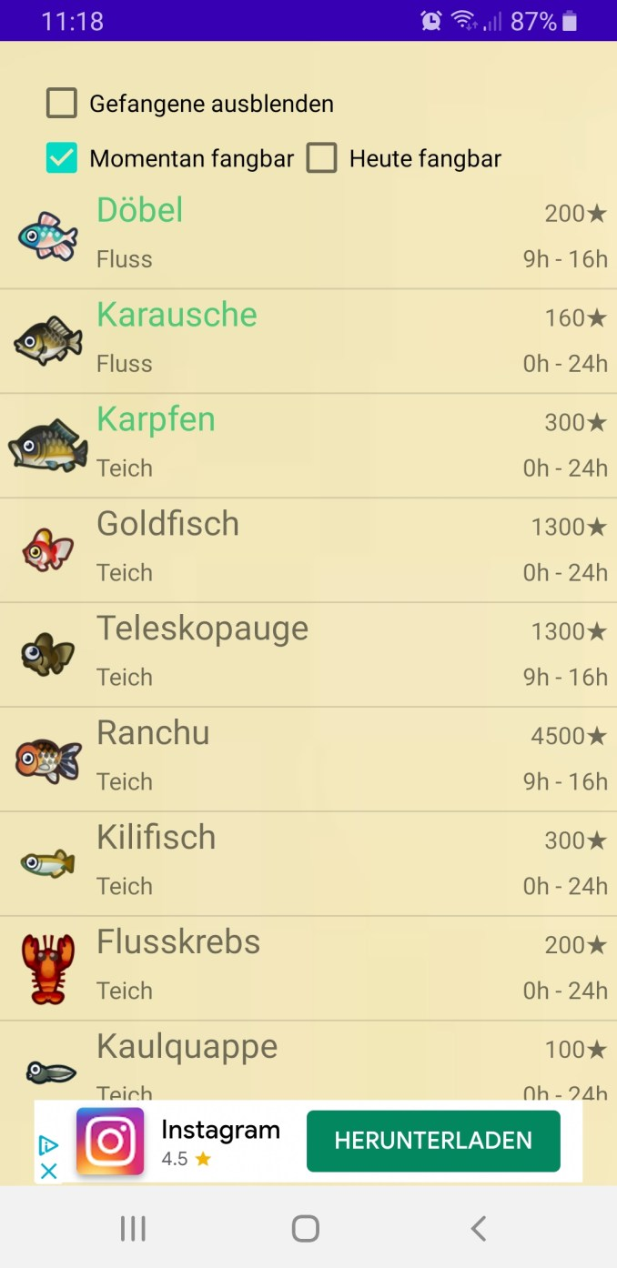 Das Bild zeigt den Reiter Fische in der App.