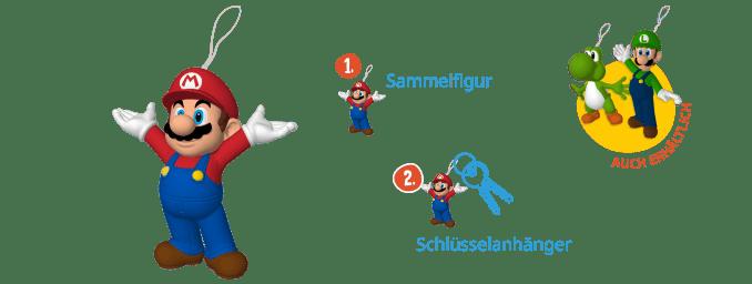 Das Bild zeigt die Kinder Joy Mario Sammelfigur, die auch als Schlüsselanhänger zu verwenden ist. Desweiteren sieht man die Alternativmodelle mit Luigi und Yoshi.