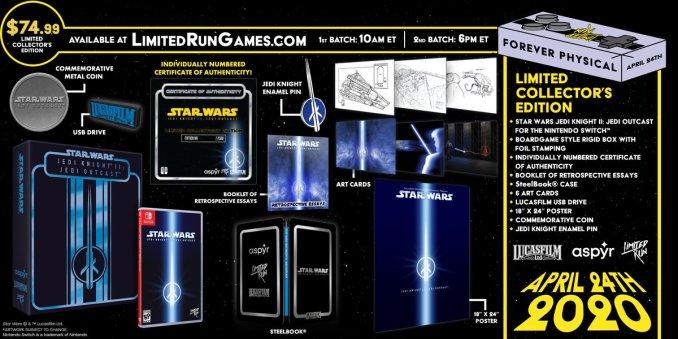 Zu sehen ist das offizielle Werbebanner von Limited Run Games bezüglich der Veröffentlichung des Star Wars Merchandise. Hier im Bild die Collectors von Jedi Knight II: Jedi Outcast.