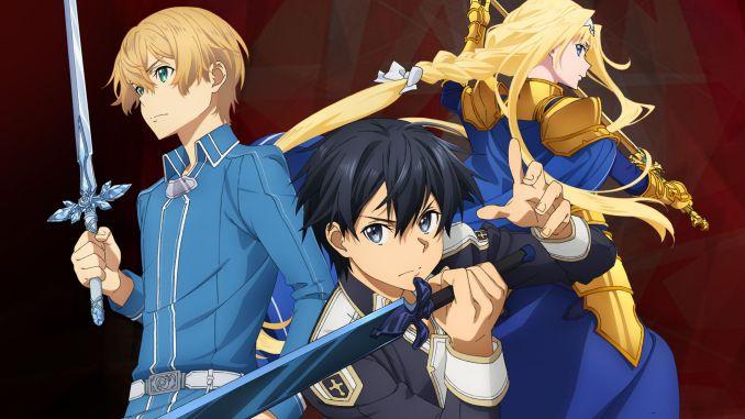 """Das Bild zeigt den Protagonisten und zwei weitere Charaktere aus """"Sword Art Online: Alicization Lycoris""""."""