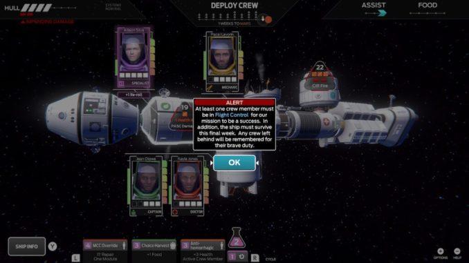Das Bild zeigt das Raumschiff Iktomi, so wie vier Porträts von Besatzungsmitgliedern, die sich in unterschiedlichen Modulen des Schiffes aufhalten