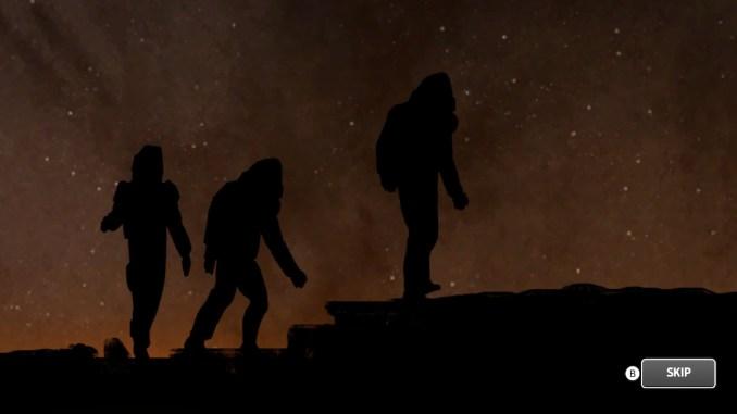 Das Bild zeigt die Silhouetten dreier Astronauten, die auf dem Mars spazieren.