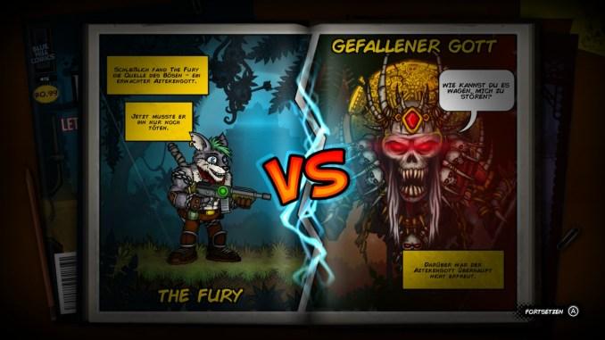 """Das Bild zeigt eine Comicseite aus """"Fury Unleashed"""", in der einer der Hauptbosse des Spiels eingeleitet wird."""