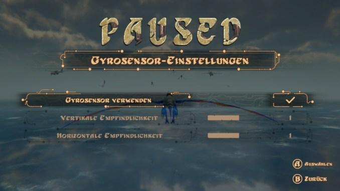 """Das Bild zeigt die Gyrosensor-Einstellungen und speziell den Punkt """"Gyrosensor verwenden""""."""