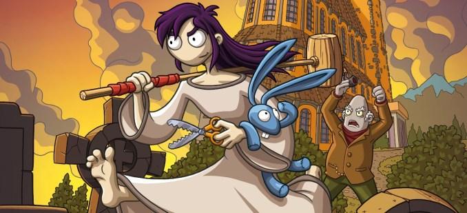 """Das Bild zeigt eine Szene aus dem Spiel """"Edna & Harvey: The Breakout - Anniversary Edition"""". Man sieht Edna und ihren Plüschhasen Harvey gefolgt vom bösen Dr. Marcel."""