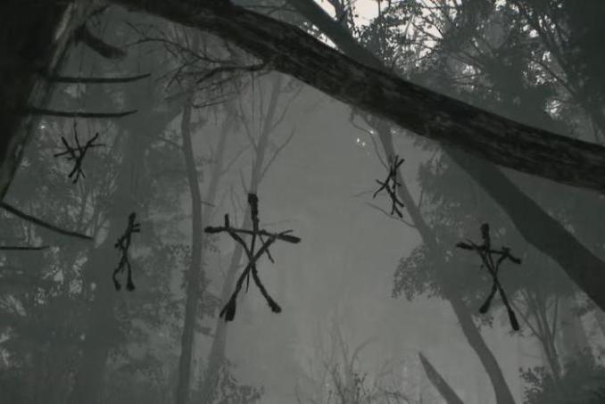 """Das Bild zeigt die heidnischen Stock-Figuren aus """"Blair Witch""""."""